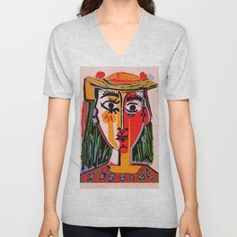Head of a woman in a Hat Picasso Unisex V-Neck