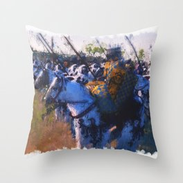 Medieval Army in Battle Throw Pillow