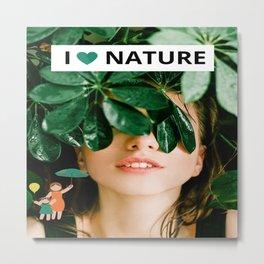 I love Nature Girl Leaves Metal Print