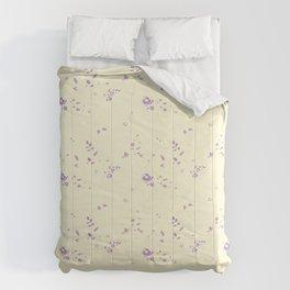 floral pattern violet roses on vanilla background Comforters