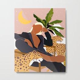 Girl Boss, Woman Empower Feminism Cheetah Illustration, Wild Cat Tiger Boho Leopard Tropical Moon Metal Print