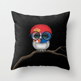 Baby Owl with Glasses and Serbian Flag Throw Pillow