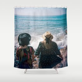 """""""Sisters on the Shoreline"""" Holga color photograph Shower Curtain"""