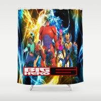 big hero 6 Shower Curtains featuring Big Hero 6 by ezmaya