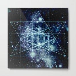 Galaxy Sacred Geometry Flower of Life Ocean Blue Metal Print