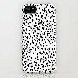 Nadia - Black and White, Animal Print, Dalmatian Spot, Spots, Dots, BW iPhone Case