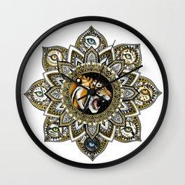 Black and Gold Roaring Tiger Mandala With 8 Cat Eyes Wall Clock