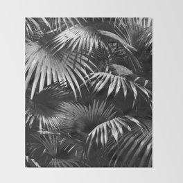 Tropical Botanic Jungle Garden Palm Leaf Black White Throw Blanket