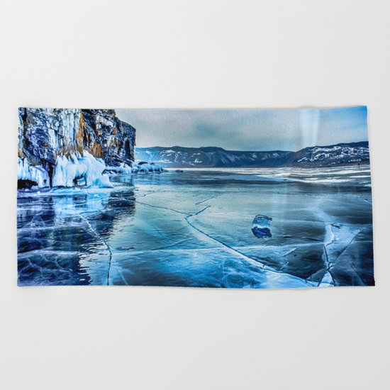 Lake Baikal. March Beach Towel