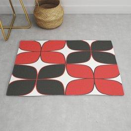 Mid-Century Modern Art - Flower Pattern Black Red Rug