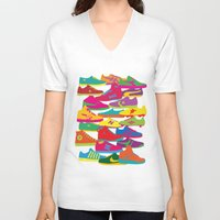 sneakers V-neck T-shirts featuring Sneakers by Glen Gould
