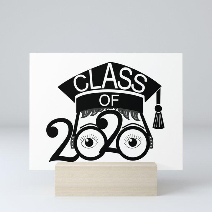 Graduation Hat 2020.Class Of 2020 Graduation Cap With Glasses Mini Art Print By Gsallicat