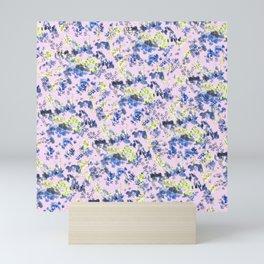 Doodle blue flowers pattern, Light Pink background Mini Art Print