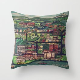 Lake Placid | Streets & Lakes Throw Pillow