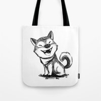 shiba Tote Bags featuring Shiba by mecantdraw