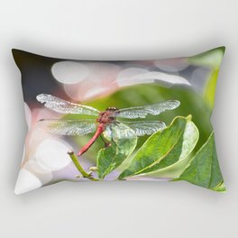Red Dragonfly on leaf with bokah Rectangular Pillow