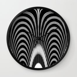 Geometric Black and White Abstract Skeletal Pattern Wall Clock