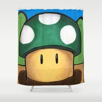 super mario Shower Curtains featuring 1Up Super Mario by Juicebox Farley