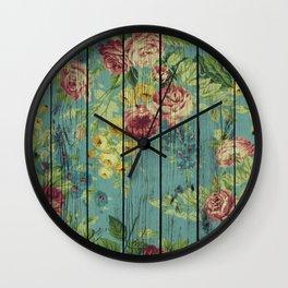 Flowers on Wood 08 Wall Clock