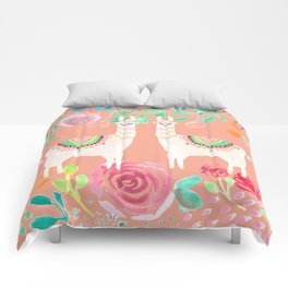 Llama in a floral frame Comforters