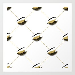 Lashes with gold glitter Art Print