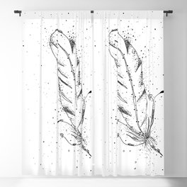 Feather Black and White Art Illustration Blackout Curtain