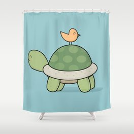 Kawaii Cute Tortoise And Bird Shower Curtain