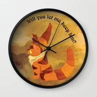 nausicaa Wall Clocks featuring Teto the Fox-Squirrel by HSuits