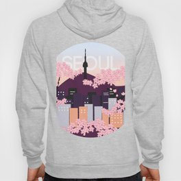 Seoul Tower with Cherry Blossoms Woodblock Style Souvenir Print Hoody