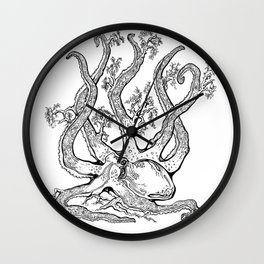 Octopus Tree - Black and White Wall Clock