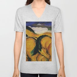 The Yellow Horses by Franz Marc Unisex V-Neck