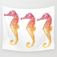 seahorse Wall Tapestries featuring Red & Orange Seahorse by Aloke Design