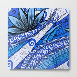 Boho Stylized Rope Pattern Metal Print