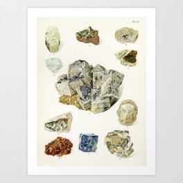 Vintage Mineral and Gemstone Illustration, 1907 Book Illustration from Atlas Mineralu Art Print