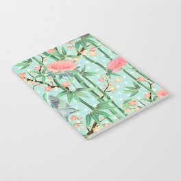Bamboo, Birds and Blossom - soft blue green Notebook