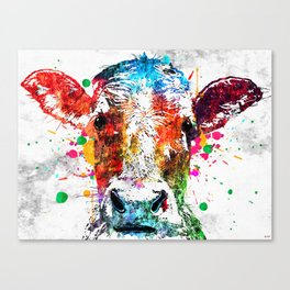 Cow Watercolor Grunge Canvas Print