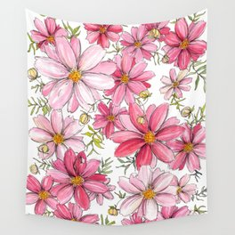Pink Floral Pattern Wall Tapestry
