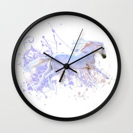 White Horse And Splatters Wall Clock