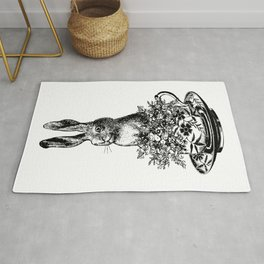 Rabbit in a Teacup | Vintage Rabbit in Tea Cup with Wildflowers | Bunny Rabbits | Black and White | Rug