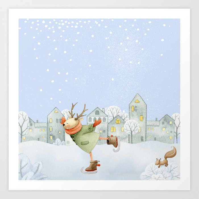 Merry christmas- Ice skating Deer and squirrel are having Winter fun Art Print
