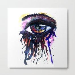 Rainbow eye splashing watercolor and ink Metal Print