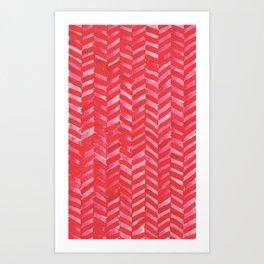 Hot Pink Herringbone Art Print