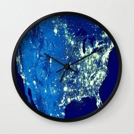 America At Night Wall Clock