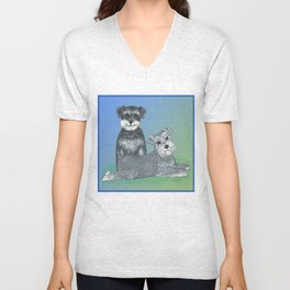 Dogs- Schnauzers - Dogs By Nina Lyman Unisex V-Neck