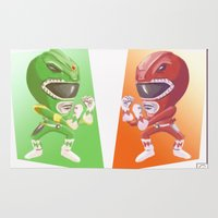 power rangers Area & Throw Rugs featuring Mighty Fightin' Power Rangers by garciarts