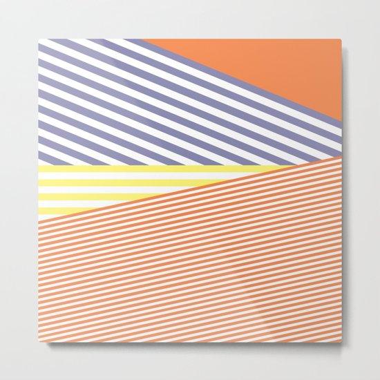 Orange Crush Lines Metal Print