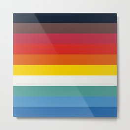Multicolor Retro Stripes Trickster Metal Print