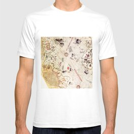 Ancient Map of The New World from Pira Re'is 1513 map T-shirt