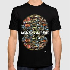 MASSACRE Black Mens Fitted Tee SMALL
