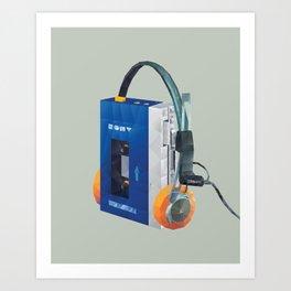Sony Walkman TPS-L2 with MDR-5A Headphone Polygon Art Art Print